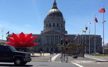 "Asian Art Museum - a modern art installation called ""Breathing Flower"" of the exhibition ""The Phantoms of Asia"" , in May, 2012. The art installation was at the San Francisco City Hall compound, with the City Hall as its backdrop."